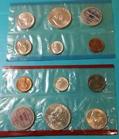 1962 MINT SETS UNC U.S. MINT 90% SILVER COINS P & D SETS with Envelope 10 COINS