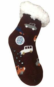 Big Boys Sherpa Slipper Fuzzy Plush-lined Socks Rubber button Anti Slip 6-8