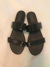 LC Lauren Conrad Sandals Slides Black Patent Look Size 9