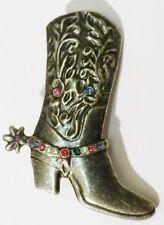 broche bijou rétro botte cowboy finement travaillé cristaux couleur * 4113