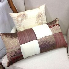 1 X RAW SILK BOHO PATCHWORK LONG CUSHION - by ANGAD'S 60 x 35cm - EXQUISITE!!