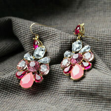 Pink Crystal Glass Rhinestone Flower Gold Tone Metal Earrings Drop Sweet
