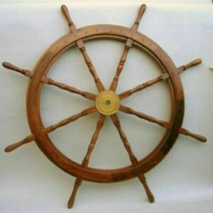 """36"""" Nautical Brass Wall Wooden Ship Steering Wheel Pirate Wood Boat Style Décor"""