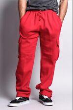 Mens Fleece Cargo Pocket Sweat Pants With Drawstring Hip Hop Casual Harem M-5XL