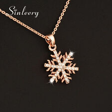 Fashion Zircon Hollow Snowflake Pendant Necklace For Women 18K Rose Gold Xl518