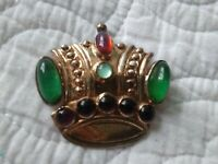 💖CORO CRAFT(?) VINTAGE STERLING RHINESTONE GLASS CABOCHONS CROWN PIN/BROOCH