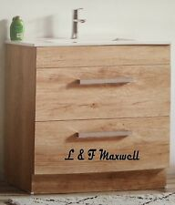 OAK LOOK Vanity with Ceramic basin and soft close drawer - multi - sizes