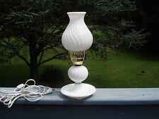 VINTAGE WHITE MILK GLASS HURRICANE  ELECTRIC BEDROOM TABLE TOP LAMP