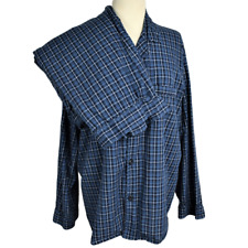 Hanes Mens XL Pajama Set Woven Cotton Blend Plaid LS Button Front Pants Blue