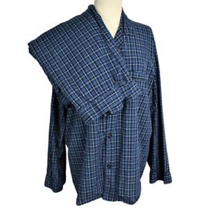 Hanes Mens XL Pajama Set Woven Cotton Blend Plaid LS Button Front Pants Blue
