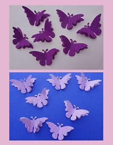 Decorative double GLITTER butterflies Packs of 20, Purple or Lilac-Pink. Value!