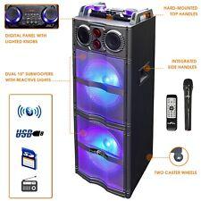"Befree Sound 2x10"" Woofer Bluetooth Portable Pa Dj Party Speaker + Lights & Mic"