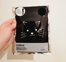 NIP Forever 21 Opaque Black 70 Denier Tights Kitty Cat Face Knees M/L Kawaii