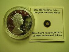 2012 Proof $20 Queen's Diamond Jubilee crystal COIN&COA ONLY .9999 silver twenty