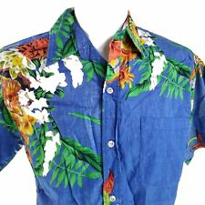Go Barefoot Tropical Flowers Reverse Print Large Hawaiian Aloha Shirt
