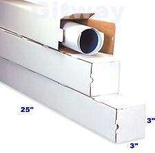 25- 25x3x3 Long White Corrugated Cardboard Packaging Shipping Tubes Box Boxes