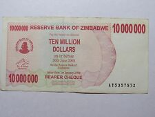 Old Zimbabwe Paper Money Currency - #55a 2008 $10 Million Bearer Cheque Series A