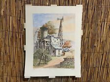 Ted Wade California Artist Original Watercolor #2/18 1980s Miners Shed
