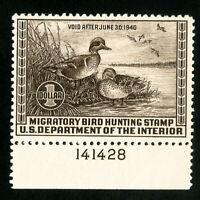 US Stamps # RW6 VF Plate # OG LH Scott Value $100.00