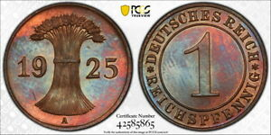 Germany 1925-A 1 Reichspfennig, KM-37, PCGS PR65BN
