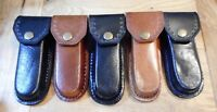 """Lot of 3 Black and 2 Brown leather knife sheaths 5"""" - cases - second quality"""