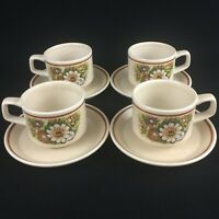 Lot of 4 VTG Cups & Saucers by Lenox Temper-Ware Magic Garden Oven To Table USA