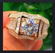 Filled With White Sapphire Gemstone Ring. Luxury Fashion Men Diamond 18k Gold