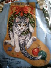 Vintage Bucilla Christmas Kitty 60714 Needlepoint Kit Stocking 1993