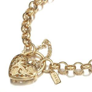 18K Yellow Gold GL Womens Med Solid Belcher Bracelet with Filigree Heart 20cm