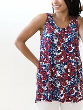 Agnes & Dora Sun Ray Floral Essential Tank / Blue Red White / Women's Size Small