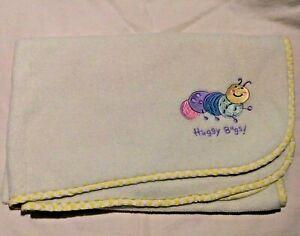 Circo Huggy Bugs Yellow Baby Blanket Caterpillar Soft Fleece Checked Edge Trim