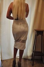 "CELEB PARTY SEQUIN MIDI WHITE DRESS ""MISSGUIDED"",Deep decollete,stretch 10"