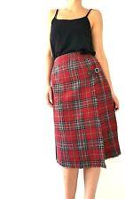 Vintage Mosbrook Kilt Skirt Red Tartan Midi Checked Pleated Punk New Wool 10 12