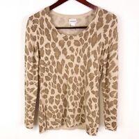 Chicos Womens sz 0 Tan Leopard Print Metallic Fleck Pullover Sweater