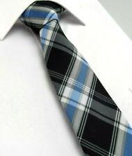 Black Plaid Scottish Tartan Necktie Tie Blue White Check Silk 481