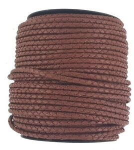 Plaited leather cord Brown 4 mm Round diameter