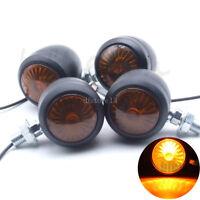 4pcs Moto Ambre Lampe Signal Feu Clignotants Indicateur Bullet Pour Harley Honda