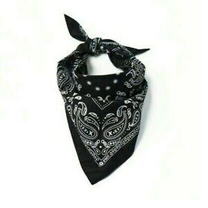 Adult Unisex Paisley Print Bandana Black. New. Cloth 100% Cotton