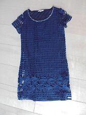 ROBE bleu électrique crochet broderie mc ~~ JUS D'ORANGE ~~~Taille 2 ou 38