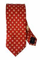ERMENEGILDO ZEGNA Brick Red Floral Print Silk Twill Tie AUTHENTIC ITALIAN