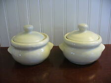 Set of 2 Vintage Pottery Pale Green Covered Crock Baking Dishes