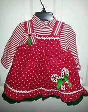 NWT RARE EDITIONS Red White Corduroy Candy Cane Christmas Dress Jumper Sz 18 Mo