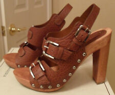BCBG MAXAZRIA Safari Brown Leather Slingback Sandals Sz 6.5 NEW