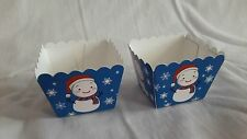 xmas snowman blue square muffin cases baking cup cupcake 20pcs 4.5x4.5x4.5cm