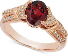 0.89CT NATURAL ROUND DIAMOND 14K SOLID ROSE GOLD RUBY GEMSTONE COCKTAIL RING