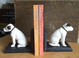 Cast Iron Vintage Style His Master's Voice HMV Nipper the Dog Bookends