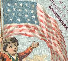 LANSINBURGH, NY  TRADE CARD, H B DICKSON, DRUGGIST & APOTHECARY,  BIG FLAG  K321