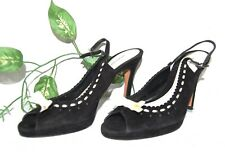 Banana Republic Women's Black Beige Open Toe Suede Italy Shoes Sandals Size 7.5