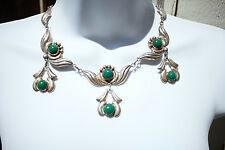 """Green Onyx Pendants Necklace 17.75"""" L Vintage Early Mexico Sterling Silver &"""