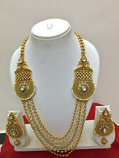 Bollywood Indian Ethnic Gold Plated Fashion Kundan Pearl Beads Jewelry Set